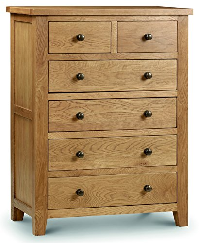 Julian Bowen Marlborough 4+2 Chest of Drawers, Waxed Oak