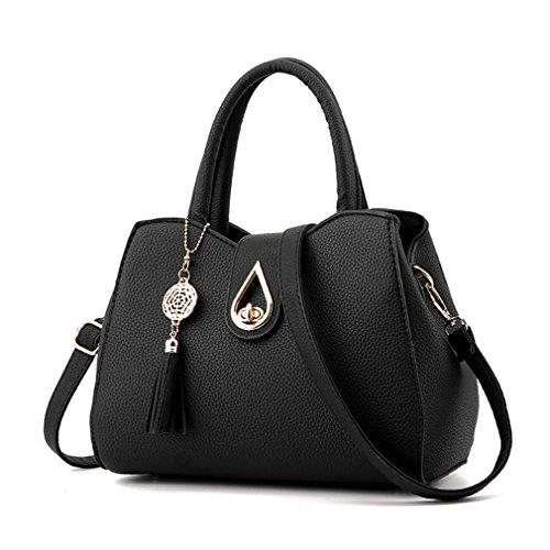 Pahajim Women PU leather Tote Bags Small Satchel Purses Shoulder Tassel Handbags (Small Satchel Shoulder Bag)