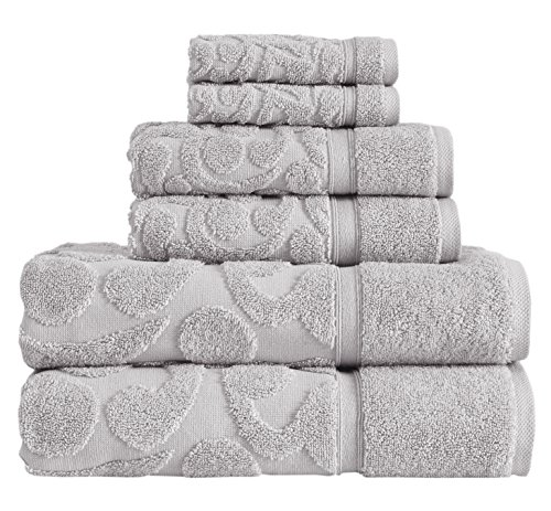 - Classic Turkish Towels Luxury 6 Piece Towel Set - Woven Jacquard Bath Towels Made with 100% Turkish Cotton