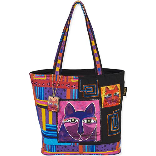 Laurel Burch Shoulder Tote, 16 by 5 by 14-Inch, Whiskered Cats