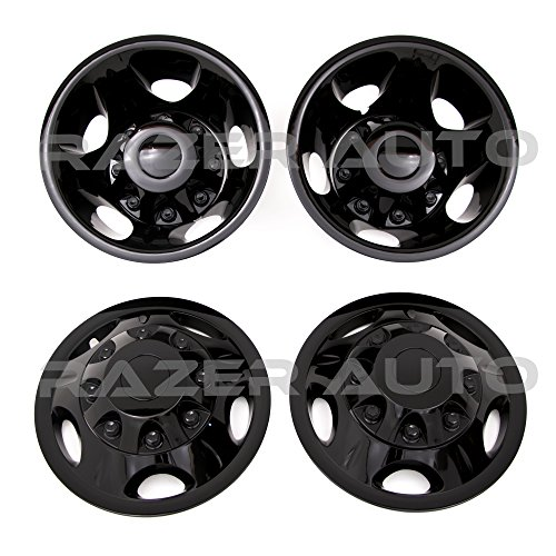 ck Wheel Simulator Liner + Center Caps Cover 8pcs Set (Black) for 11-16 Chevy Silverado 3500 Dually & 11-16 GMC Sierra 3500 Dually ONLY ()