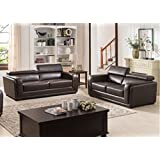 AC Pacific 2 Piece Calvin Collection Modern Style Leather Living Room Sofa and Love Seat Living Room Collection, Dark Brown