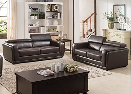 Exceptionnel AC Pacific 2 Piece Calvin Collection Modern Style Leather Living Room Sofa  And Love Seat Living Room Collection, Dark Brown
