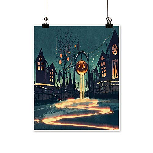for Home Decoration Halloween Theme Night Pumpkin and Haunted House Ghost Town Artful for Home Decoration No Frame,28