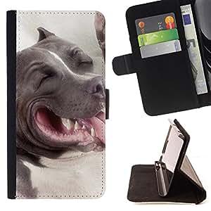- American Pit Bull Terrier Dog - - Prima caja de la PU billetera de cuero con ranuras para tarjetas, efectivo desmontable correa para l Funny HouseFOR HTC One M7