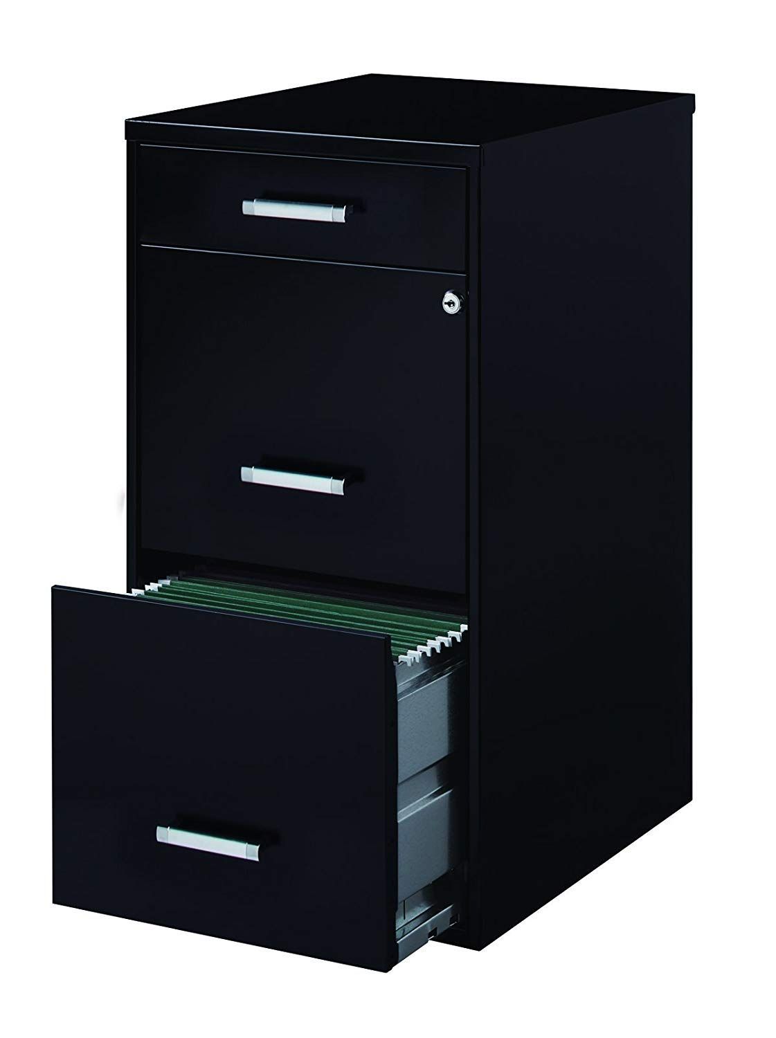 Office Dimensions 18'' Deep 3 Drawer Metal File Cabinet Organizer with Pencil Drawer, Black (4 Units) by Office Dimensions (Image #1)