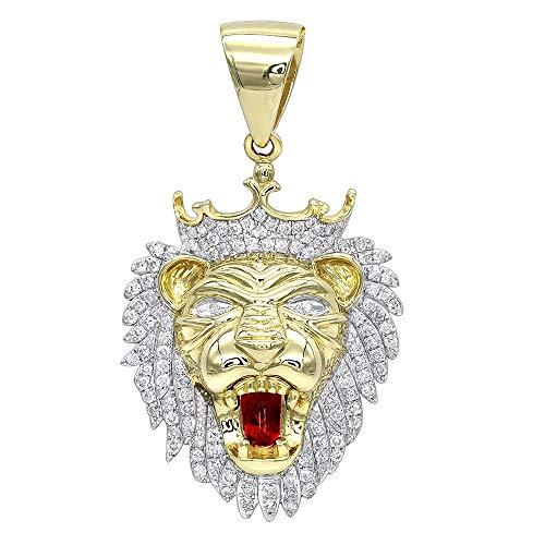 1.18 Cts Cubic Zirconia Diamonds Men's Large Lion Head Pendant Necklace 14k Yellow Gold Finish ()