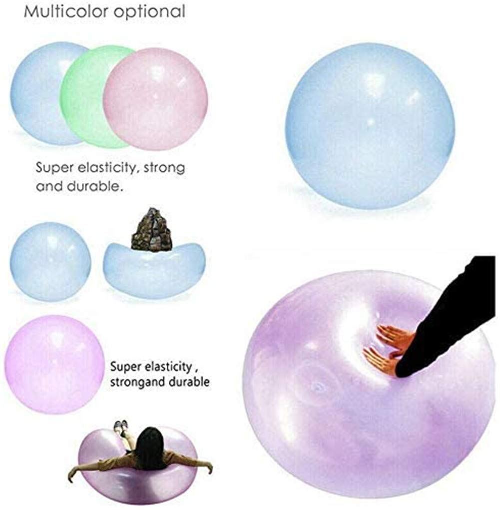 KRY Kids Inflatable Bubble Ball For Children Outdoor Party Game 120CM Transparent Tear-resistant Bounce Balloon TPR Inflatable Oversized Ball Water Balloon Blue