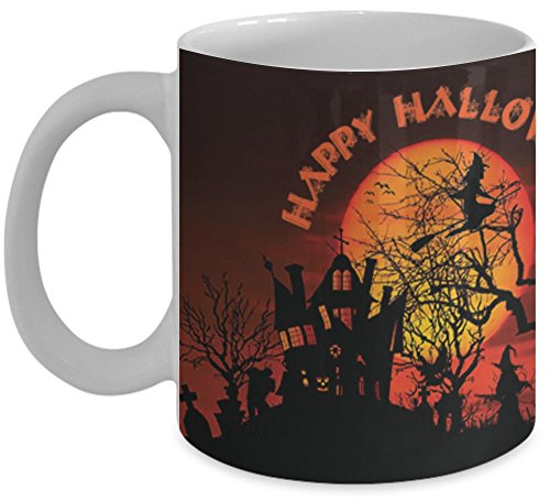 Vitazi Kitchenware Mug with Quote, 11 oz - Happy Halloween - Full Wrap Image, Spooky, Creepy Mansion, Witch, Graveyard, Ghouls, Moon (White) ()