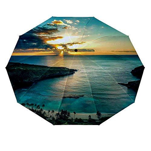 10 ribs multi-function automatic on/off - sun protection - rainproof - windproof umbrella, theme - Hawaiian Decorations Sunrise over Hanauma Bay on Oahu Hawaii Sunbeams Through Dark Clouds