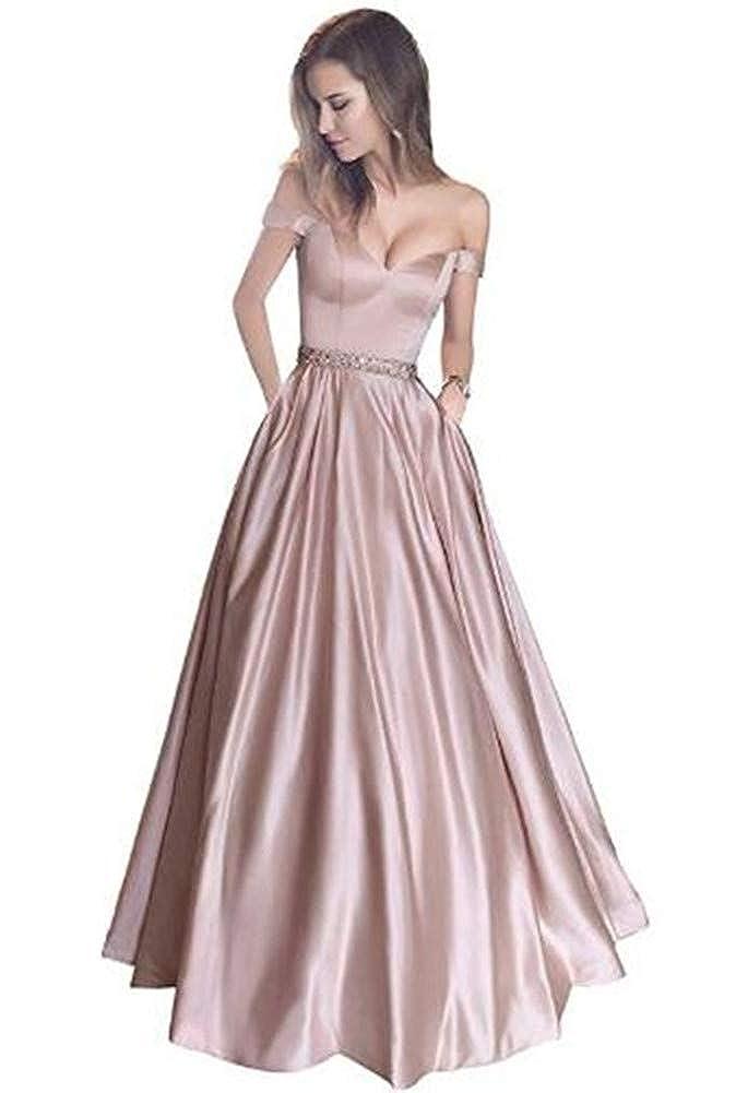 bluesh Pink Yuki Isabelle Women's VNeck Off Shoulder Beaded Long Evening Wedding Dresses Satin Prom Gowns with Pockets