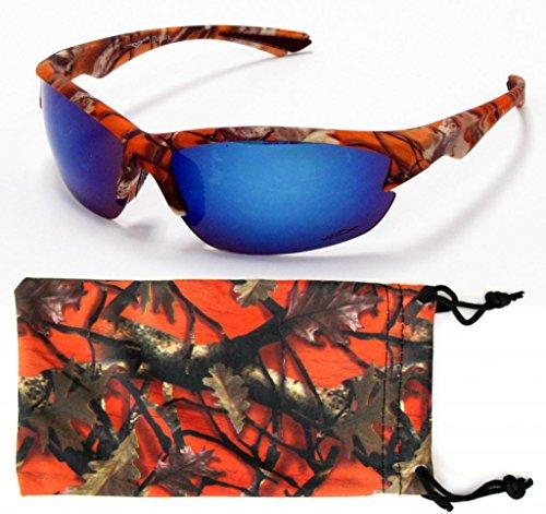VertX Mens Sport Camouflage Sunglasses Fishing Hunting Outdoor Free Micorfiber Camo Pouch - Orange Camo Frame - Blue Lens