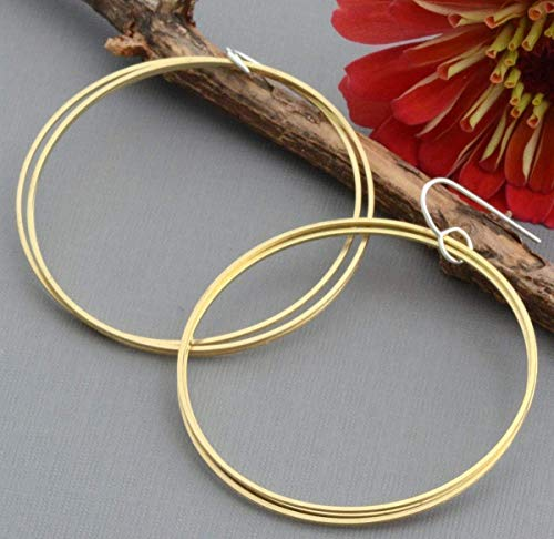 - Large 2 inch triple gold brass hoop dangle earrings sterling nickel free ear wires