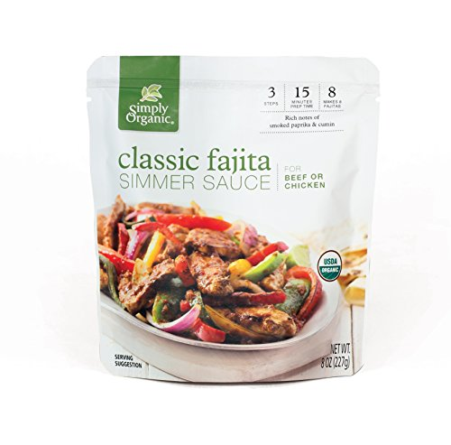 Classic Stir Fry - Simply Organic Simmer Sauce, Classic Fajita, 6 Count (Pack of 6)