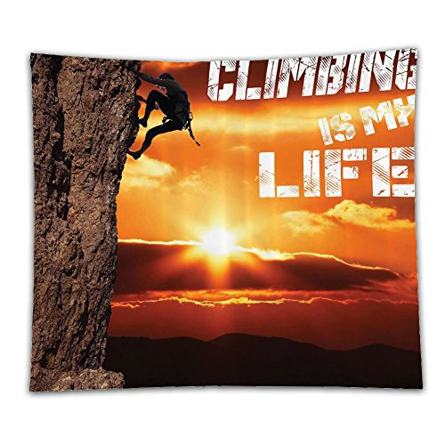 Beshowereb Fleece Throw Blanket Mountain Decor Scenic Climbing is My Life Inspirational Quotes Success Trekking Camping Camper Gifts f