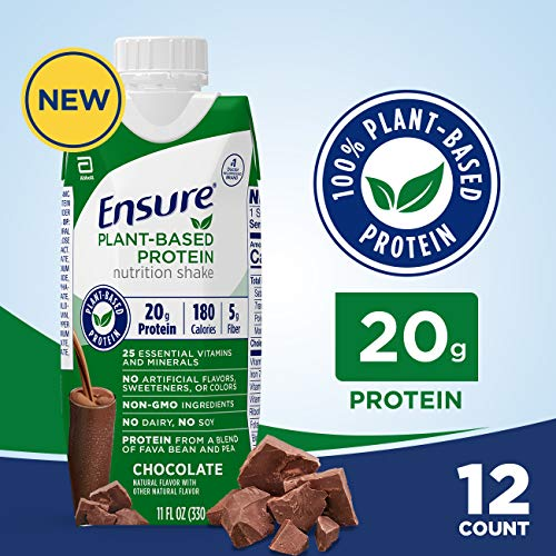 Ensure 100% Plant-Based Protein Vegan Nutrition Shakes with 20G Fava Bean and Pea Protein, Chocolate, 11 Fl. Oz, 12 Count
