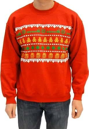 Ugly Christmas Sweater - Wreath Gingerbread Marijuana Presents Adult Red Sweatshirt (Adult Small)