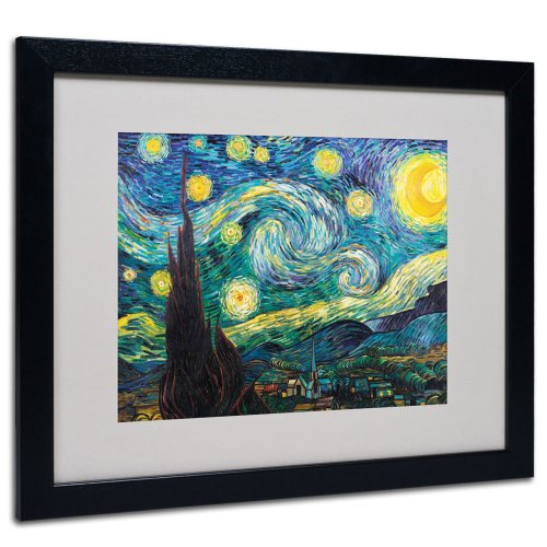 - Vincent Van Gogh Starry Night Framed Matted Canvas Art, 16 by 20-Inch, Black