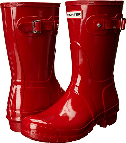 Shoe Womens Red Gloss (Hunter Women's Original Short Gloss Military Red Rain Boots - 10 B(M) US)