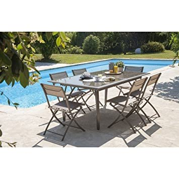 DCB GARDEN- Salon de jardin - Table et 6 chaises cappuccino - Marron ...