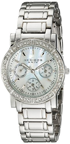 Akribos XXIV Women's AK530SS Diamond Multi-Function Crystal Bracelet Watch