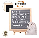 Letter Board with Letters Felt Board – 10x10 Double Sided Changeable Letter Boards, Black/Gray Message Board Sign, 680 Characters, Wooden Stand, Bag