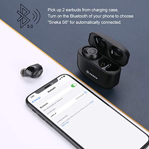Wireless Earbuds Bluetooth Earphones,SneKa IPX8 Waterproof Earbuds with Deep Bass, Auto Pairing, Mini Portable Charging Case, Touch Control in-Ear Wireless Headphones for Sport Running