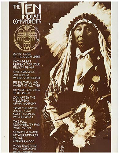 BEYONDTHEWALL Archive Laminated The Ten Indian Commandments Native American Poster 24x36 inches (Ten Native American Commandments)