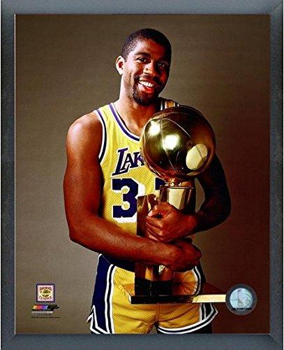 "Magic Johnson Los Angeles Lakers NBA Trophy Photo (Size: 17"" x 21"") Framed"