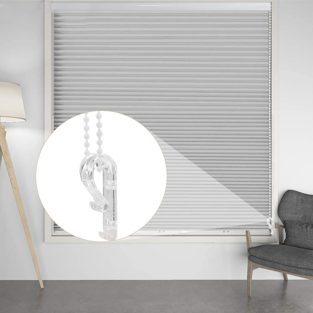 Rybtd 6 PCS Child Safety Clear Roman Blind P Clip with 10 Plastic Blinds Chain Connector,12 Metal Screws,12 Plastic Pillars for Vertical Roman Roller Blinds Ball Chain Cord Control