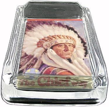 Glass Square Ashtray Train Santa Fe Native American Whiskey D-345