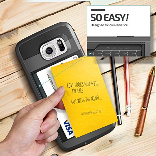 Galaxy S7 edge court case Asstar holder characteristic Wallet court case Anti ScratchCard Pocket two times Layer Shockproof soft silicone Bumper Hybrid Protective Card court case for Samsung Galaxy S7 edge Black cellular phone Charms