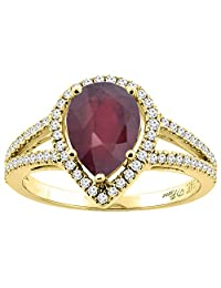 14K Gold Natural HQ Ruby Ring Pear Shape 9x7 mm Diamond Accents, sizes 5 - 10
