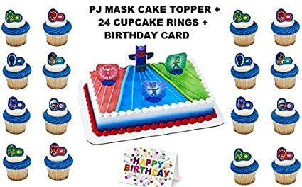PJ MASKS Were On Our Way Cake Topper Set Cupcake 24 Pieces Plus Birthday