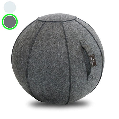 Sitting Ball Chair with Handle for Home, Office, Pilates, Yoga, Stability and Fitness - Includes Exercise Ball with Pump (Himalayan Slate, 24 in) by ProBody Pilates