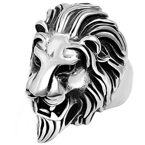 Claire Jin Lion Head Punk Vintage Ring Men Jewelry Titanium Stainless Steel Big Animal Rings (11)