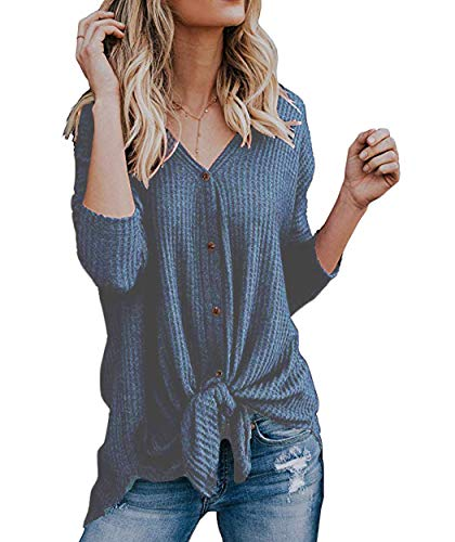 Eanklosco Tie Knot Tops Womens Waffle Knit V Neck Blouse Button Down Long Sleeve Henley Shirt (Blue, M)