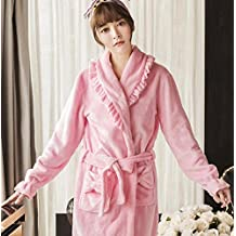 GL&G Winter Ms Quilted Thicker Long Section Bathrobes - Flannel Nightgown Sexy Keep Warm Pink Nightgown Long Sleeves Pajamas,XL