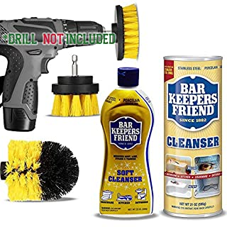 Bar Keepers Friend Cleaner Pack Kit: Bartenders Powdered Stainless Steel Cleanser, Bar Tenders Friend Best Soft Cleanser, Complete Drill Brush Power Scrubber Attachment Set.