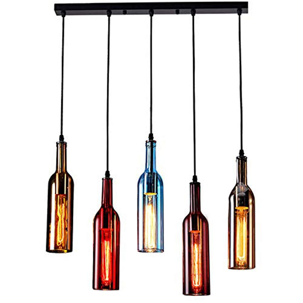 Retro Chandelier - 5-Light Vintage Industrial Colored Glass Pendant Light, Wine Bottle Creative Retro Chandelier for Cafe Loft Restaurant Kitchen Island Bar Dining Room Bar