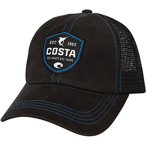 - Costa Del Mar Shield Trucker Hat w/ Velcro Closure, Black