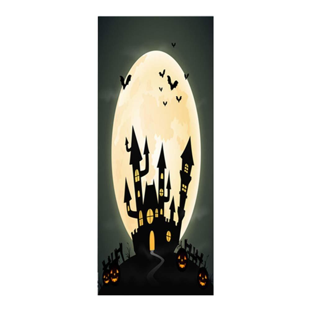 Clispeed Halloween Door Sticker Underworld autoadesivo in PVC impermeabile rimovibile porta da parati murale per la decorazione di Halloween Rifornimenti del partito