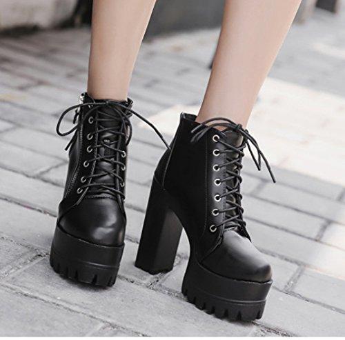 forme Casual heeled High Shoes Dames Femmes Ankle Super Linyi Boots Black Épaisse Plate À Semelle 7TzHtH5WqO