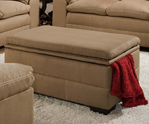 Simmons Upholstery 6765-095 Velocity Latte Storage Ottoman (Chair Microfiber Simmons)