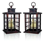BANBERRY DESIGNS Decorative Lantern Set - 2 Rustic Lanterns Mission Style - Brushed Faux Finish - 3 Taper Candles Included - 5 Hour Timer