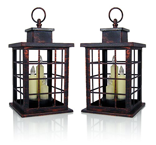 - BANBERRY DESIGNS Decorative Lantern Set - 2 Mission Style Lanterns - Brushed Faux Finish - 3 LED Taper Candles Included - 5 Hour Timers