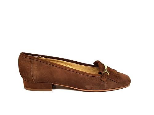 Mocasines de Piel para Mujer con Adorno Cadena en Oro y Flecos + Tacon Bajo 2 cm + Punta Redonda Cerrada: Amazon.es: Zapatos y complementos