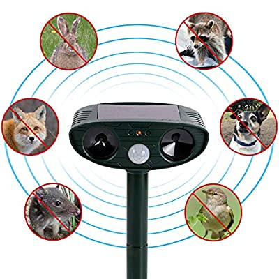 SOLAS Solar Ultrasonic Pest Repeller - Outdoor Waterproof Solar Sensor Pest Control Ultrasonic Repellent | Ultrasonic Animal Repellent Pulse Scares Cats Dogs Birds Rodents Raccoons Snakes Mice Away