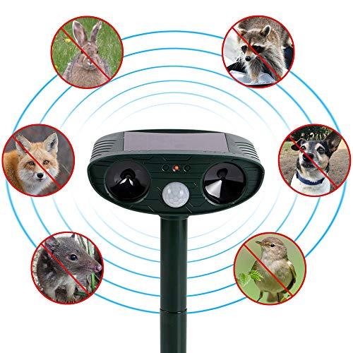 SOLAS Solar Ultrasonic Animal Repellent Outdoor Waterproof Solar Sensor Pest & Animal Repellent Outdoor | Ultrasonic Pulse Frightens Cats Dogs Birds Rodents Raccoons Snakes & Mice Away