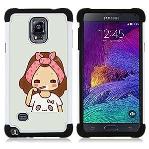 - art pink grey drawing sweet baby mother/ H??brido 3in1 Deluxe Impreso duro Soft Alto Impacto caja de la armadura Defender - SHIMIN CAO - For Samsung Galaxy Note 4 SM-N910 N910
